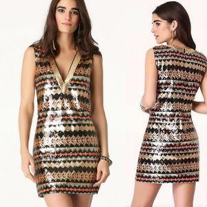 Bebe Multicolor Plunge Neck Sequin Dress